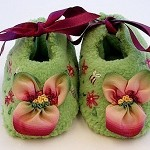 Hand Embroidered Pansy Baby Booties