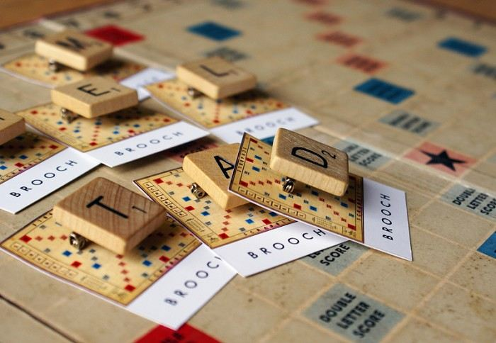 Vintage Scrabble brooch