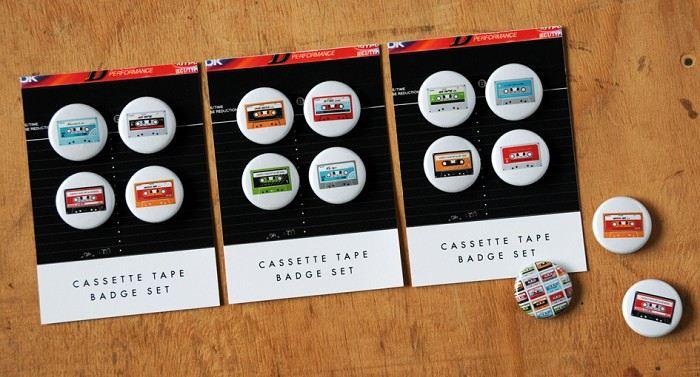 Cassette Tape badge set