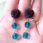 Teal Noir Earrings. Black Flower Cabochons. Vintage Style Jewelry Silver