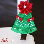 Holly Christmas Tree Clip Red