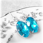 Aqua Glam Earrings Vintage Glass Jewel Sterling Silver Bridal Jewellery
