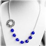 SALE Waterfall Necklace Sapphire Blue Silver Connector Vintage style