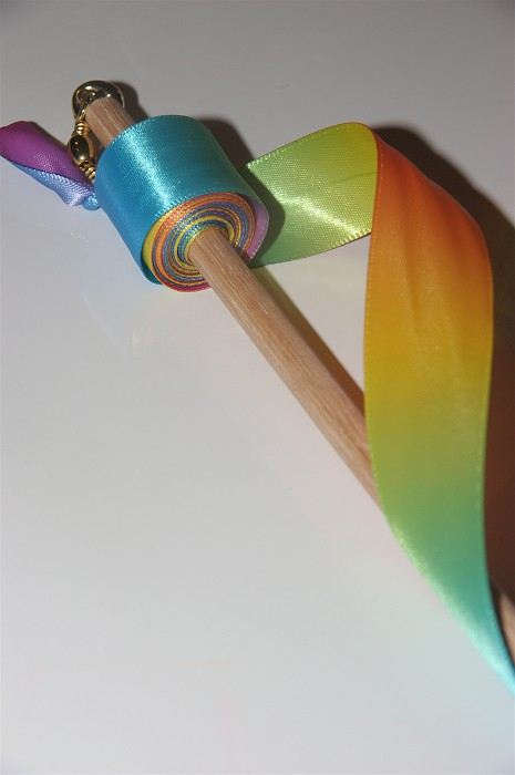 """Prince Wand: """"Rainbow Bright"""" Ribbon Wand For Your Twirling Prince Or"""