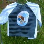 Kids art smock, toddler size, blue Diego. T12.