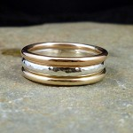 Handmade Sterling Silver & Rose and Yellow Gold filled Ring Set
