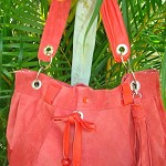 STUNNING VINTAGE SUEDE RED  LEATHER HANDBAG