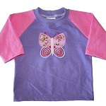 CLEARANCE... SIZE 00  Long Sleeve Handmade T-shirt BUTTERFLY