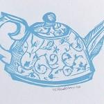 blue floral teapot  original linocut print