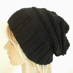 Slouchy hat wide band in solid black wool hand knit