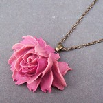 Nina Necklace Pink Rose Flower Cabochon Chain Vintage style