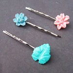 Helena Bobby Pin Set Hair Vintage Flower Cabochons Pastel Pink Green Blue
