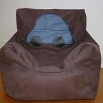 Choc Brown Vinyl Kids Bean Bag- Beanie Chair- Blue & Black Car Motif