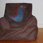 Woodland Brown Micro Suede Kids Bean Bag- Beanie Chair- Blue/Red Dino Motif