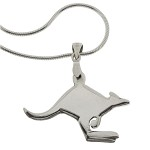 Sterling Silver Kangaroo Pendant Necklace - Free Shipping