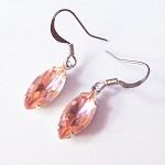 SALE Fur Elise Earrings Rosaline Vintage Glass Wedding Jewelry Silver