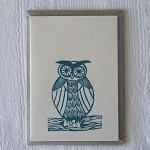 hoot owl linocut letterpress greeting card