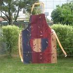 Waterproof full apron, large pocket, burgundy rust blue. F6.