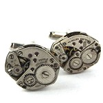 SALE Steampunk Silver Vintage Clockwork Watch part cufflinks Cuff links