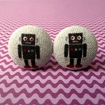 Dark grey robot cufflinks