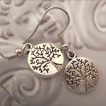 tree of life design earrings  silver tone earring