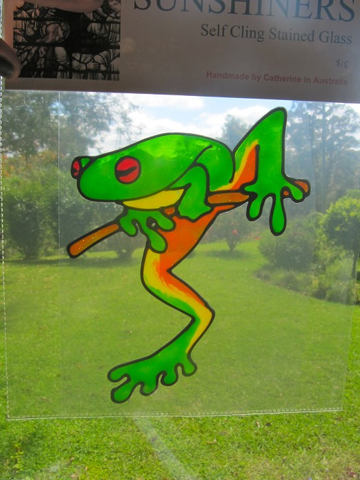 Green Tree Frog Suncatcher Window Sticker Decal Stained