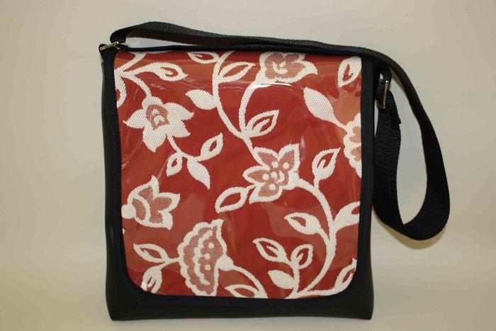 Black vinyl shoulder bag with red floral feature flap