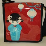 Black Vinyl & Blue Geisha Girl on Red Fabric Messenger Style Shoulder Bag