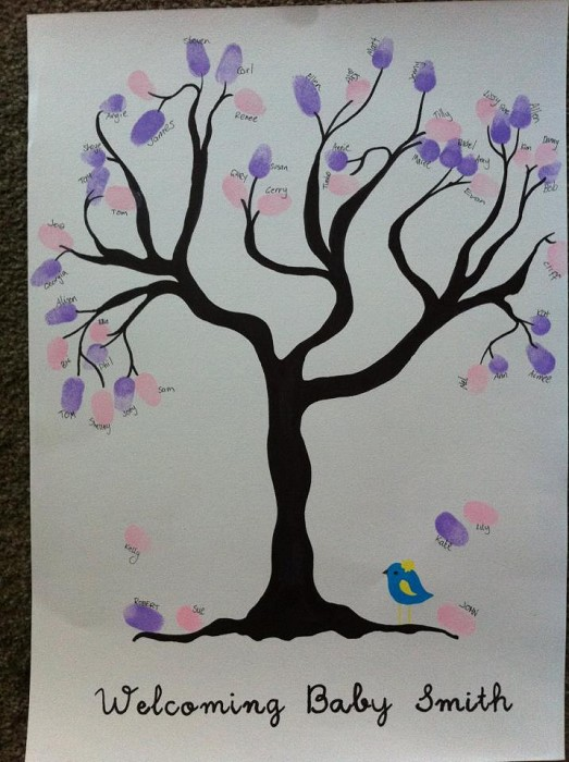 Baby Shower Fingerprint Tree Hand Drawn The Owl And The Pussycat