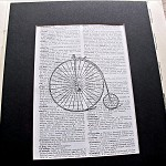 SALE Art Print. Rudge Cycle Pennyfarthing. Vintage Dictionary Page. Repurposed.
