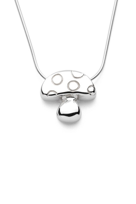 Mushroom - Handmade Sterling Silver Pendant with Snake Chain