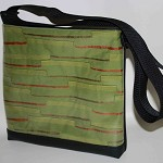 Black Vinyl Feature Panel Messenger Shoulder Bag: Retro Green Stripe