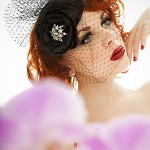 Elegant vintage look black headpiece,fascinator