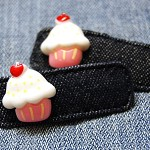 Cute Denim Cupcake Hair Clip