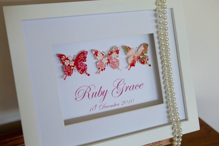 Trinty - Paper butterflies framed personalised newborn baby name ...