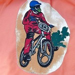 Art smock age 9 - 12 years (upper primary school) BMX, tan. L3.