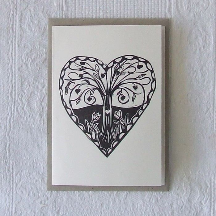 love grows linocut letterpress greeting card