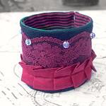 Kristen Fabric Cuff Sari Silk. Beaded. Burgundy Maroon. Lace. Black Linen