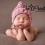 Baby pixie fairy bonnet hat with strap pink cotton blend newborn to 3 month girl