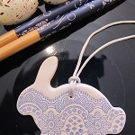 Clay Rabbit  Gift Tag or Decoration (x3)