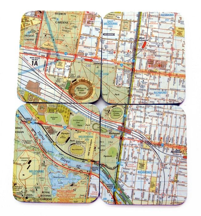 Mini Maps Of Melbourne Coasters Me Madeitcomau - Vintage maps melbourne