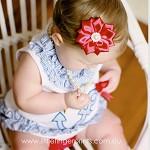 Scarlett Satin Flower Stretch Headband BLING / PEARL