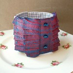 Fabric Cuff Valparaiso Vintage Sari Silk Beaded Red Cobalt Blue Cream Linen