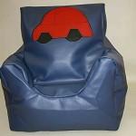 Blue Vinyl Kids Bean Bag- Beanie Chair- Red and Black Car Motif
