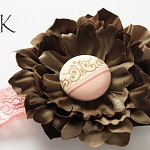Phoebe Chocolate Flower Stretch Lace Headband