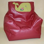 Hot Pink Vinyl Kids Bean Bag- Beanie Chair- Green Whale Motif