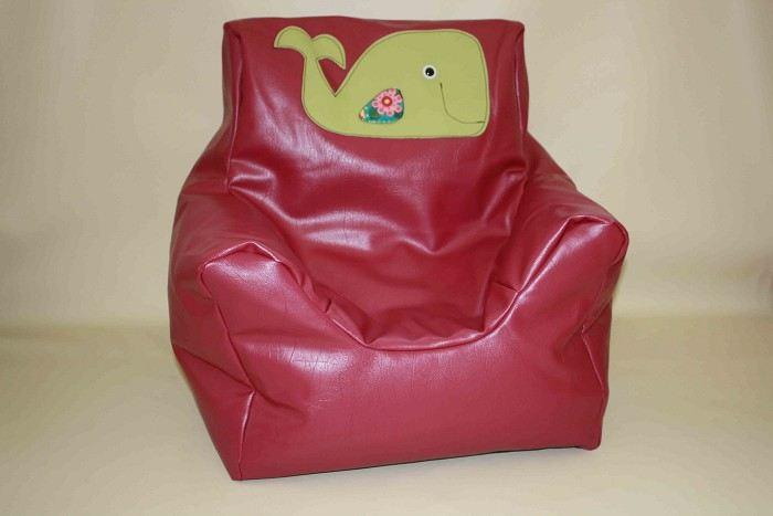 Hot Pink Vinyl Kids Bean Bag- Beanie Chair- Green Whale Motif