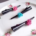 Kherrington Hair Set Flower Cabochon Black Pink Blue Womens Tweens Children