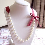 Pearl and Ribbon Bridal Necklace Glass Pearls Cream Burgundy Wine Wedding