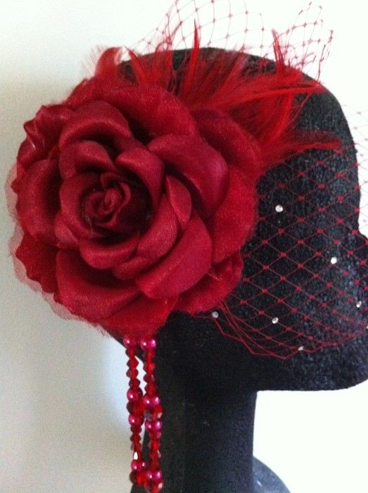 Elegant Red Birdcage Veil Bride Flower Bridal Hair Clip Wedding